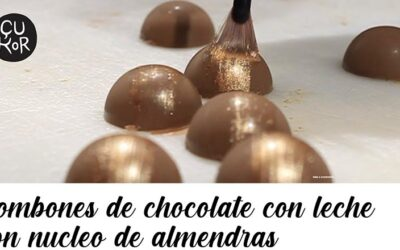 ¿Cómo hacer bombones de chocolate con leche y almendras?